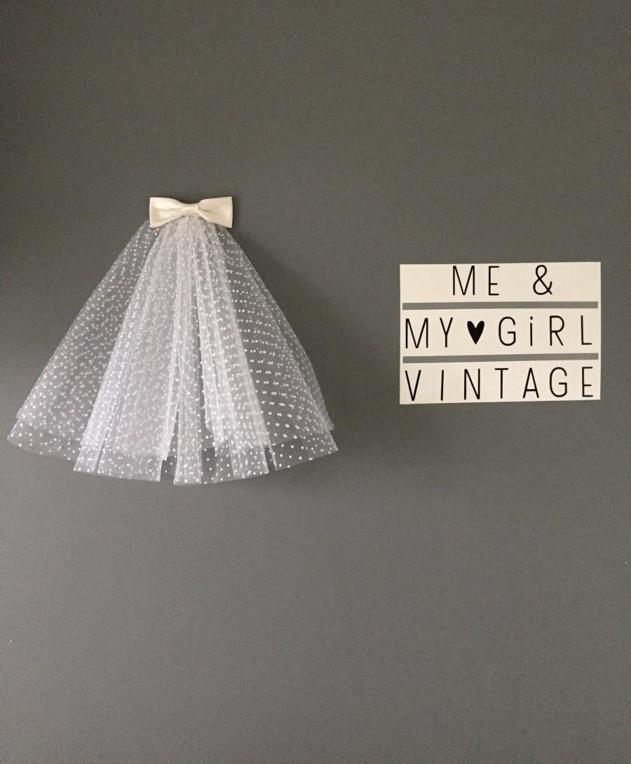 Wedding - Polka Dot 60s Style Veil with Bow Detail