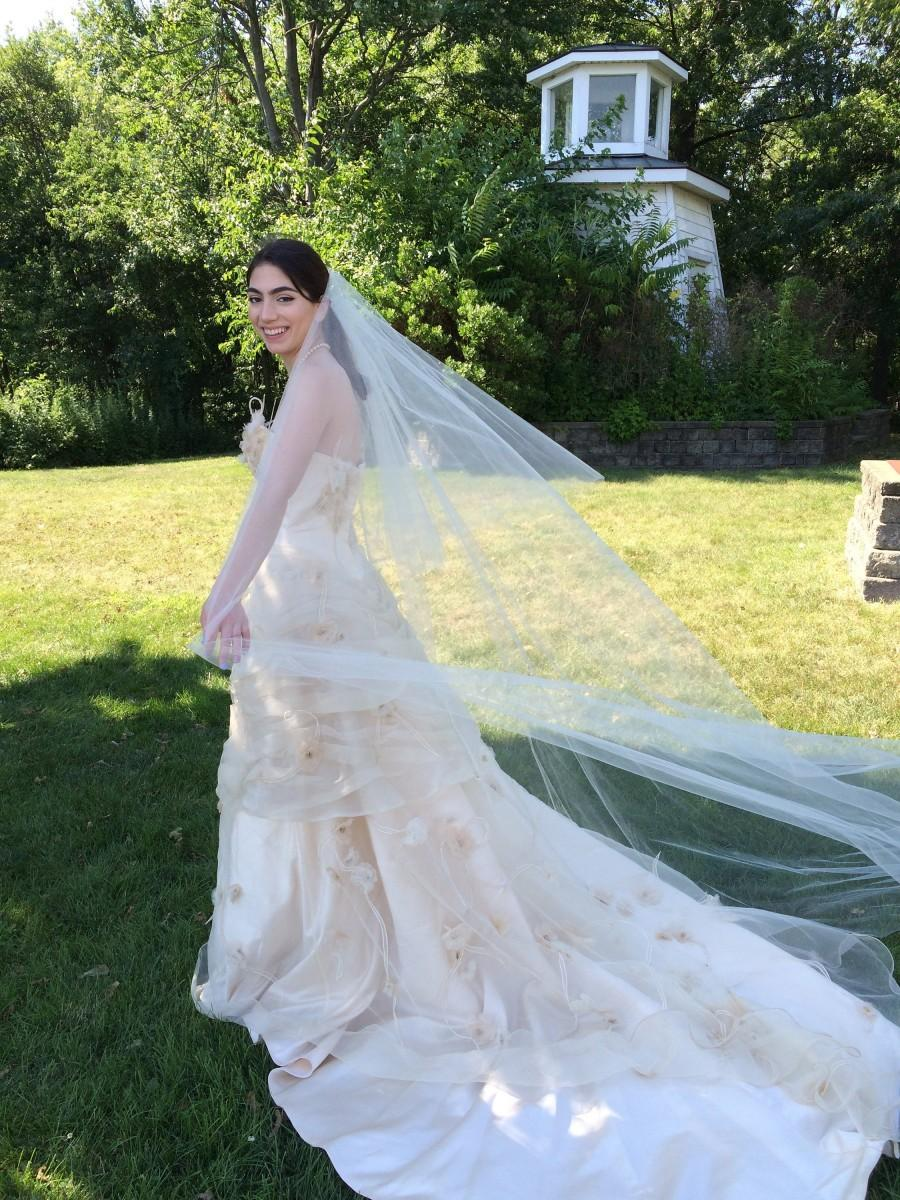 Wedding - Cathedral Wedding Veil, Cathedral Veil with Blusher, Cathedral Veil Ivory, Made to Order