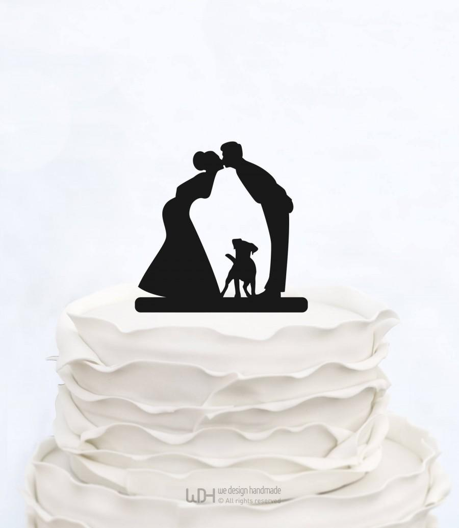 Hochzeit - Wedding Cake Topper with dog_Couple silhouette cake topper_Personalized Bride And Groom Cake Topper_Custom Cake Topper_bridal show topper