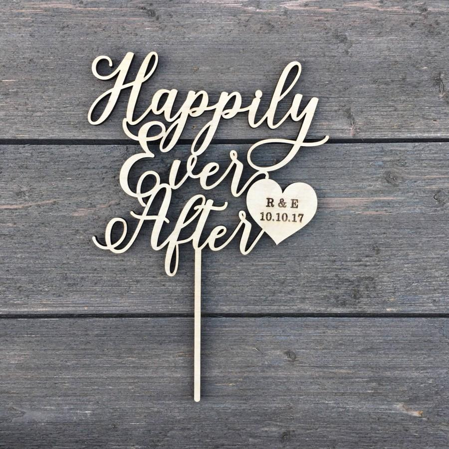 """Hochzeit - Personalized Happily Ever After Initials & Date Cake Topper with Heart 6"""" inches wide, Wedding Cake Topper, Fairytale Cake Topper, Custom"""