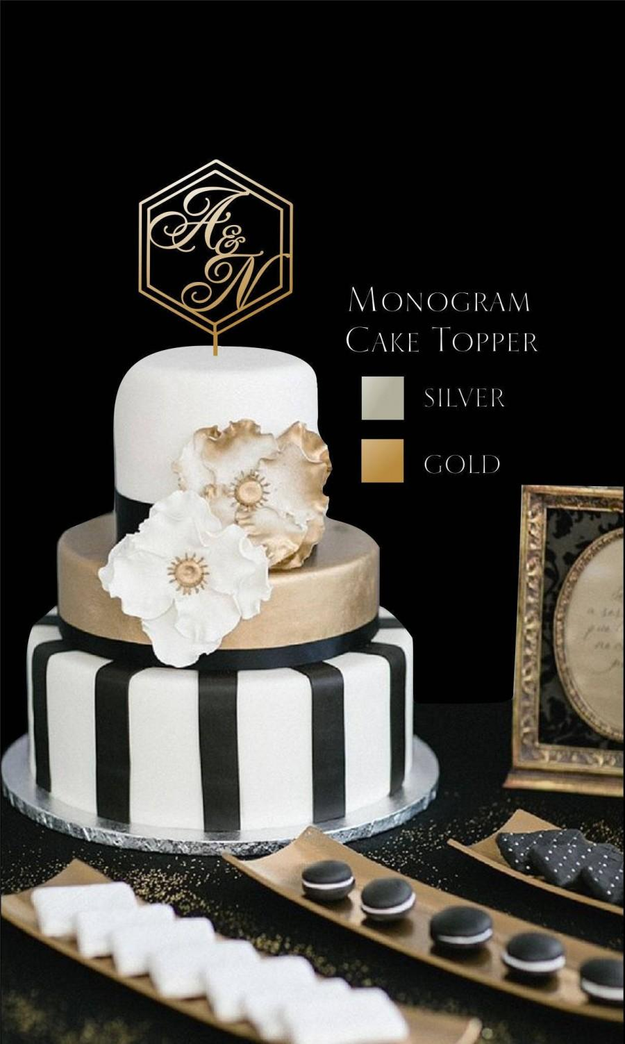 """Свадьба - Monogram Cake Topper - Wedding Cake Topper  - Gold Cake Topper - Please Enter your phone number in the """"NOTE to the seller"""""""
