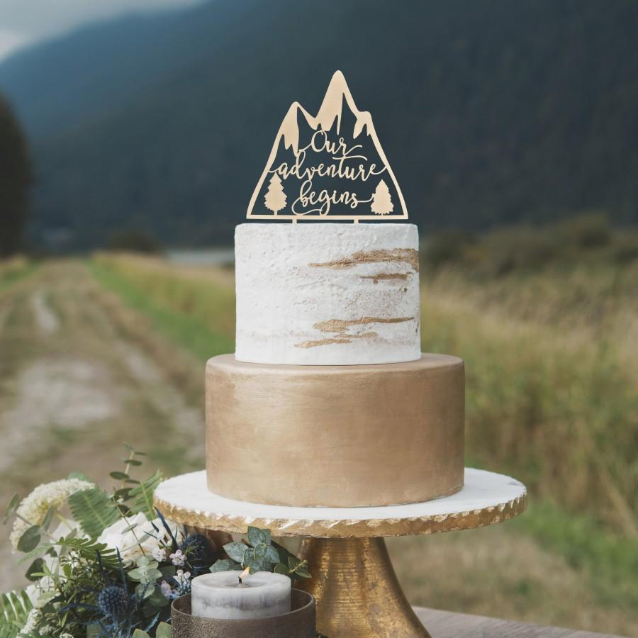Свадьба - Our adventure begins wedding cake topper, Unique wedding cake topper, Travel wedding cake toppers, Rustic wedding cake topper