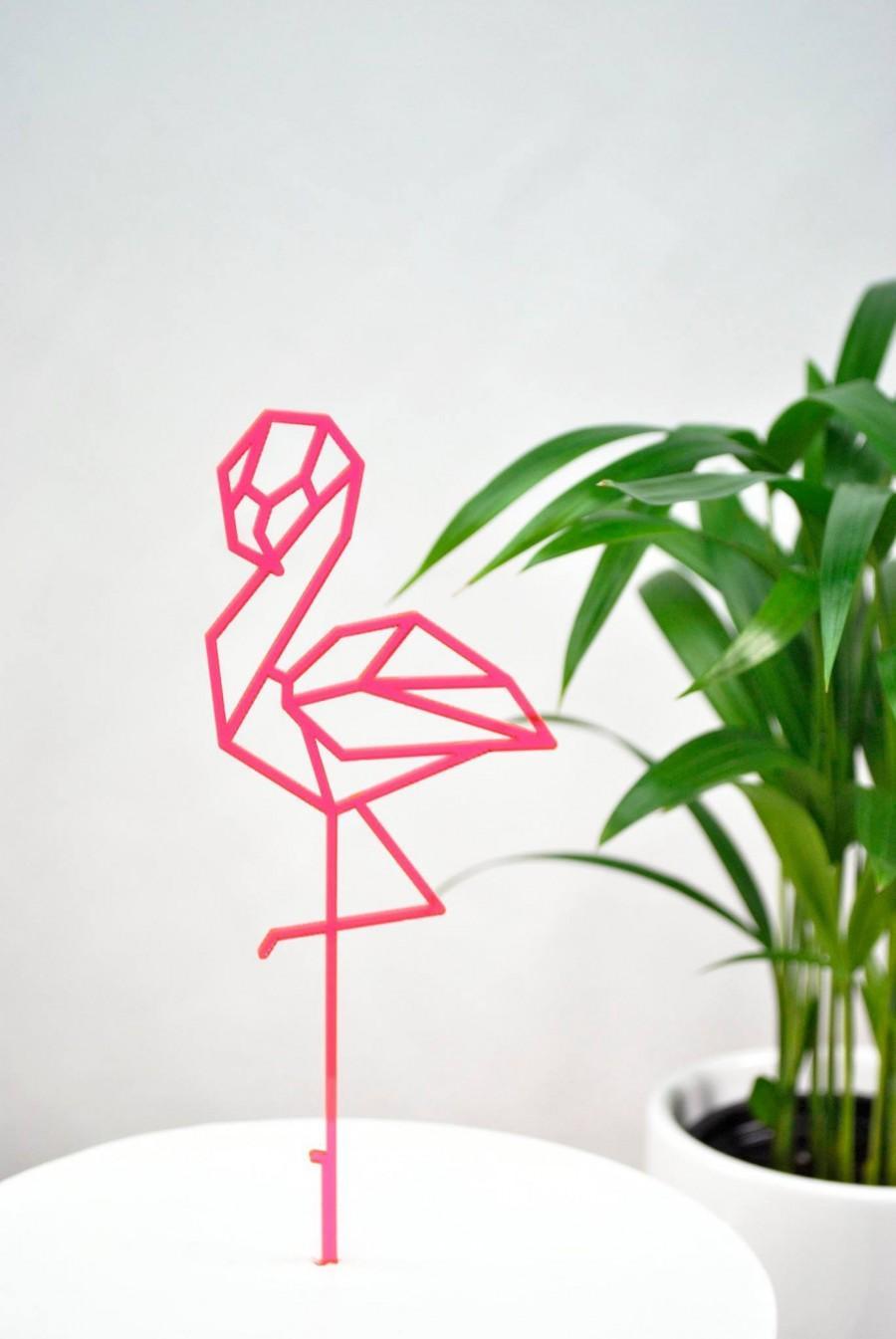 Свадьба - Geometric Flamingo Cake Topper - any color