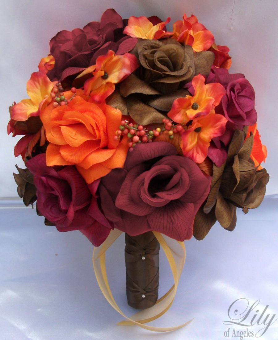 Wedding - Wedding Bouquet, Bridal Bouquet, Bridesmaid Bouquet, Silk Flower Bouquet, Wedding Flower, 17 Piece Set, Fall, Orange, Brown, Lily Of Angeles