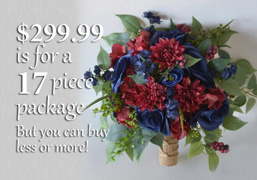 Wedding - Wedding Bouquet, Bridal Bouquet, Bridesmaid Bouquet, Silk Flower Bouquet, Wedding Flower, burgundy, wine, blue, navy blue, Lily of Angeles