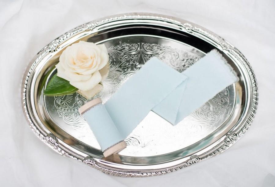 "Wedding - 2"" inch Icy Mint ribbon - raw edge hand spun matte satin ribbon"