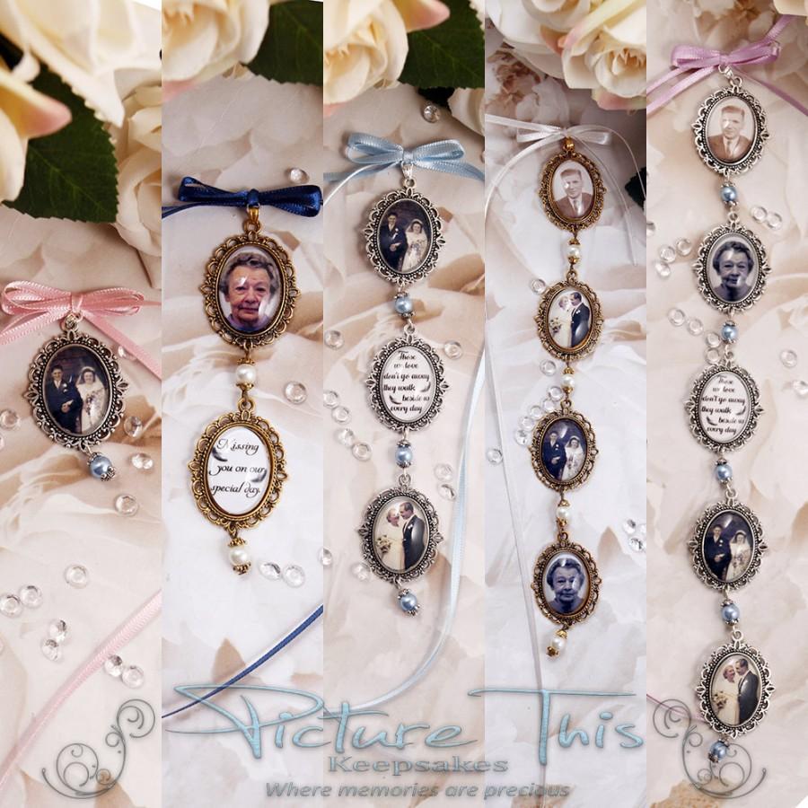 Wedding - Custom Bouquet charm, Wedding Bouquet charm, Gold Photo Charm Chain, Personalised bouquet charm, Double bouquet charm, Triple Bouquet Charm.