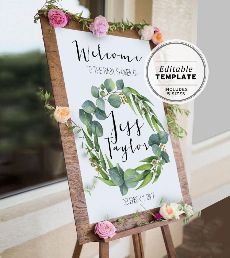 Wedding - Baby Shower Welcome Sign Editable Template