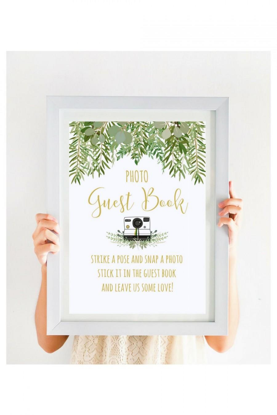 Wedding - Wedding Photo Guest Book Sign, Greenery Wedding Sign, Garden Wedding, Beach Wedding, Gold Wedding Printable, Instant Download, #IDWS604_10AS
