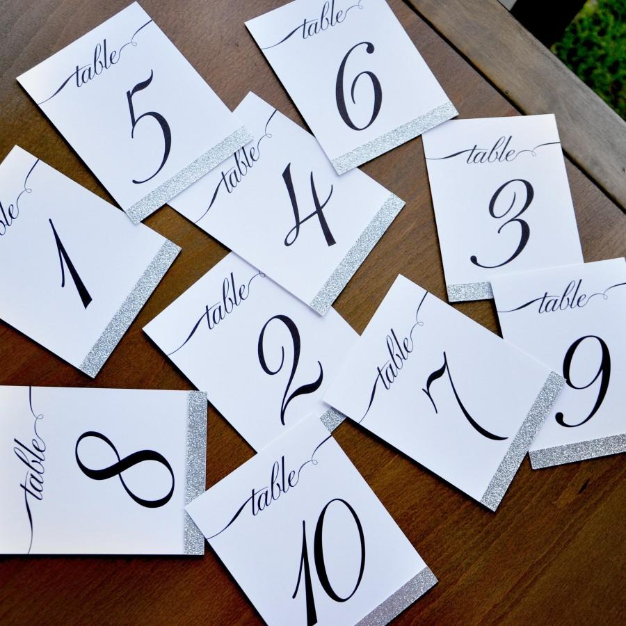 Wedding - Table Number Signs. 1-10. Silver Wedding Table Numbers. Calligraphy Table Numbers.