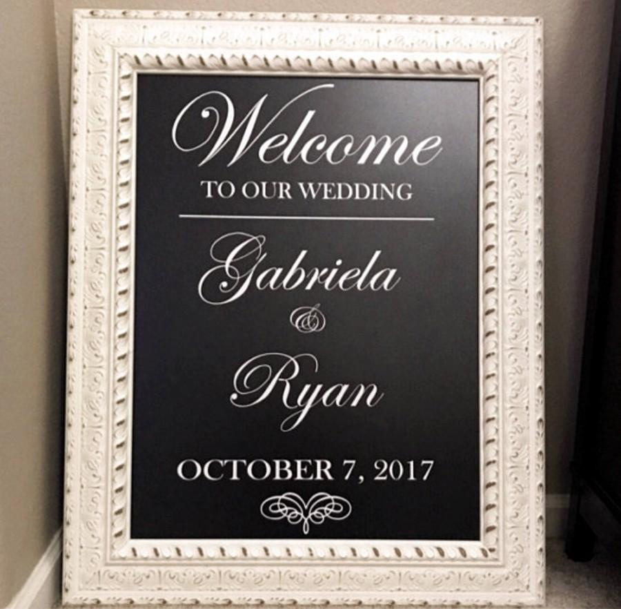 Mariage - Wedding Welcome Sign Mirror Decal/Scroll Heart Welcome Wedding Mirror Vinyl Decal/ Welcome Mirror/ Hashtag Sign/Bridal Shower/Baby Shower