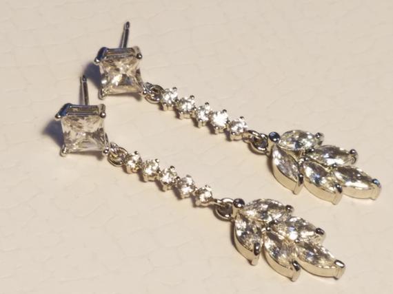 Wedding - Bridal Cubic Zirconia Dainty Earrings, Marquise Leaf Wedding Earrings, Crystal Bridal Earrings, Crystal Leaves Dangle Earring Bridal Jewelry