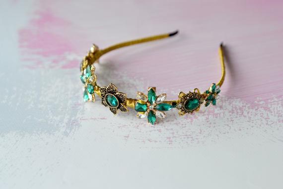 Wedding - Emerald crystal flower crown Wedding green tiara Bridal Hair Emerald festive hair accessory Bridal green gold crown Green head piece