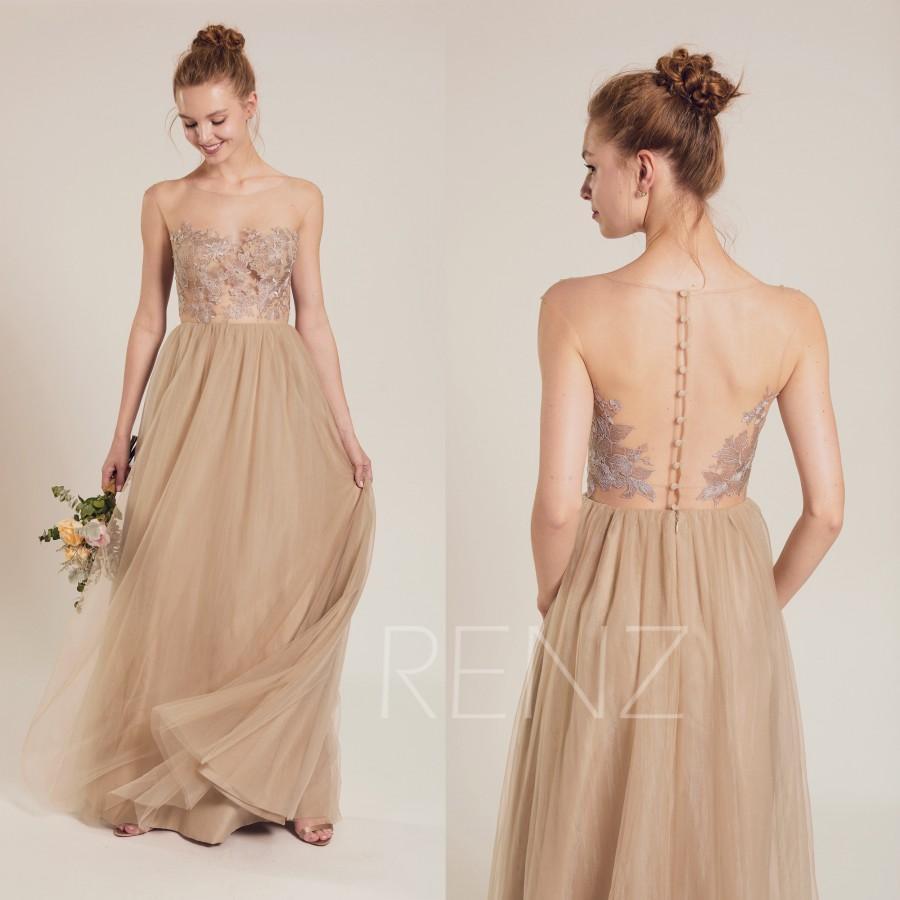 Свадьба - Party Dress Pale Khaki Maxi Dress,Illusion Boat Neck Tulle Dress,Lace Applique Bridesmaid Dress,Transparent Full Back Wedding Dress(LS539)