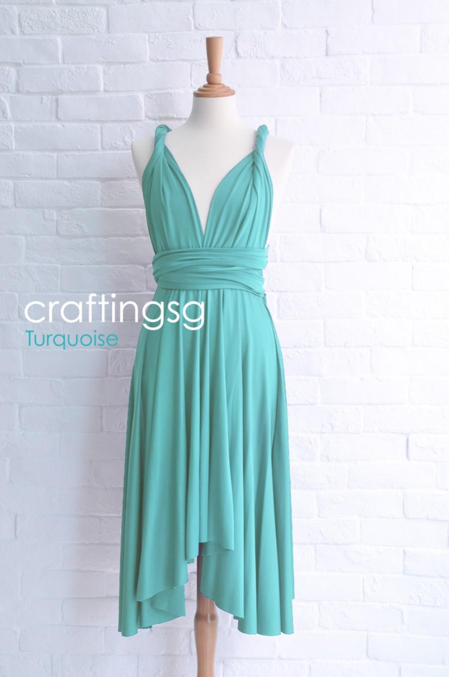 Hochzeit - Bridesmaid Dress Infinity Dress Turquoise Knee Length Wrap Convertible Dress Wedding Dress