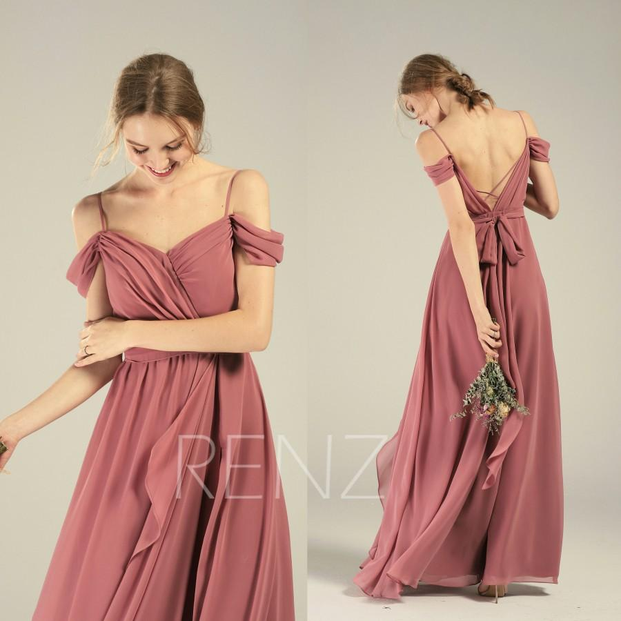 Hochzeit - Prom Dress Old Rose Chiffon Bridesmaid Dress Ruched Off Shoulder Maxi Dress Ruffle A-line Party Dress Lapped Skirt Long Wedding Dress(L542)