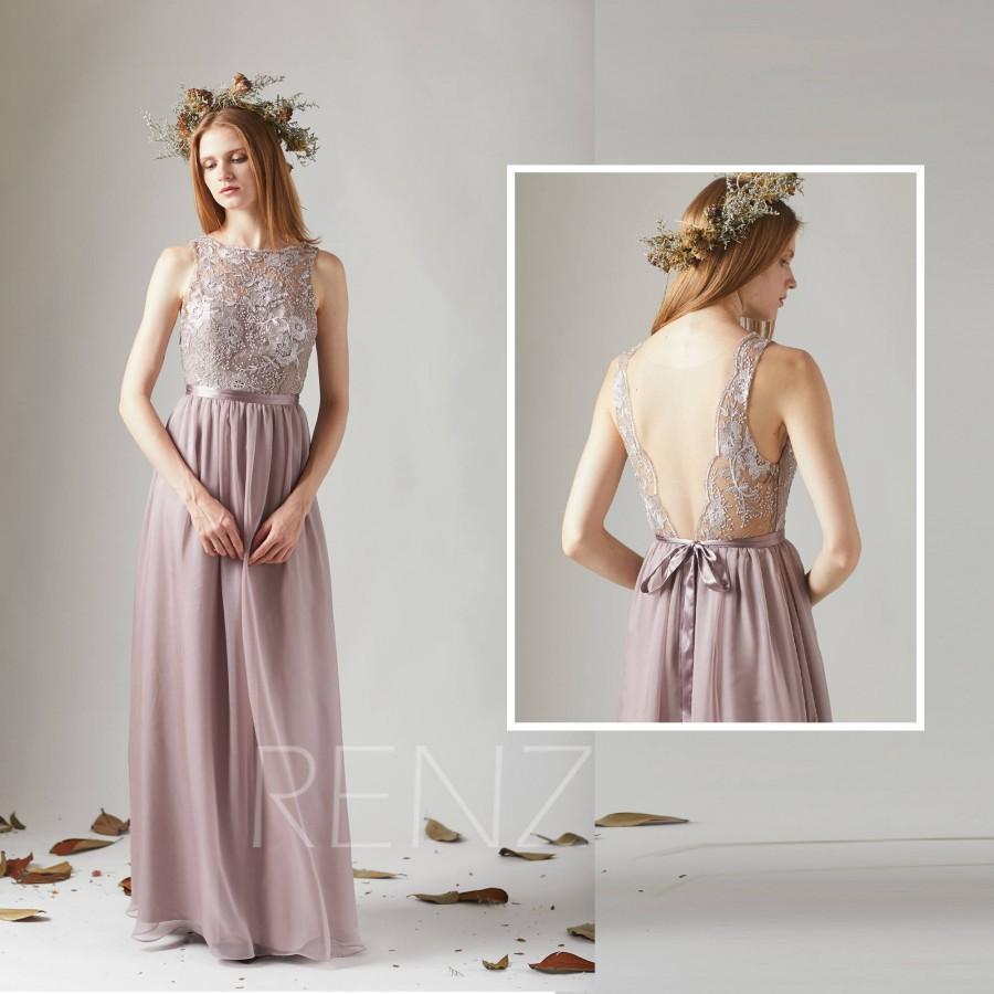 Свадьба - Bridesmaid Dress Rose Gray Chiffon Dress Wedding Dress,Lace Illusion Boat Neck Maxi Dress,Deep V Back Prom Dress,A-Line Evening Dress(T207)