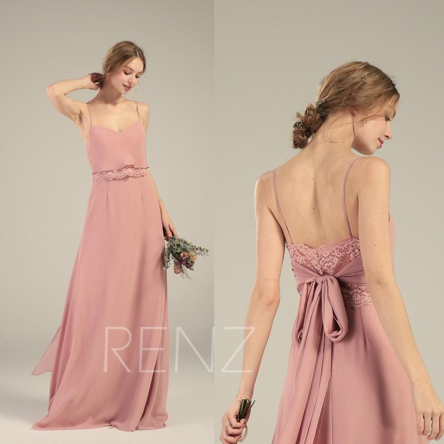 زفاف - Dusty Rose Bridesmaid Dress V Neck Chiffon Wedding Dress Spaghetti Strap Prom Dress Long Sash Illusion Lace Back Long Shift Maxi Dress(L529)