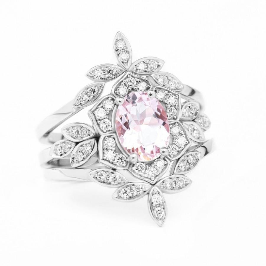 Wedding - Lily Flower Oval Morganite & Diamond Bridal Three Rings Set