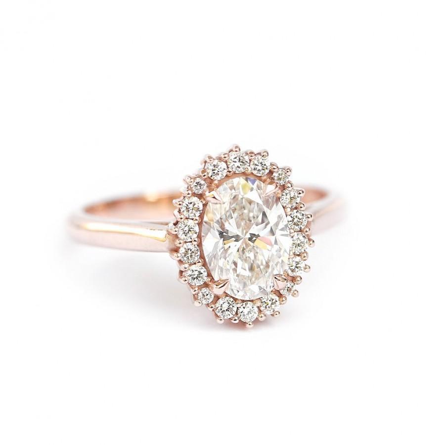 Wedding - Oval Diamond 1.16 carat Unique Engagement Ring, Diamond Diana