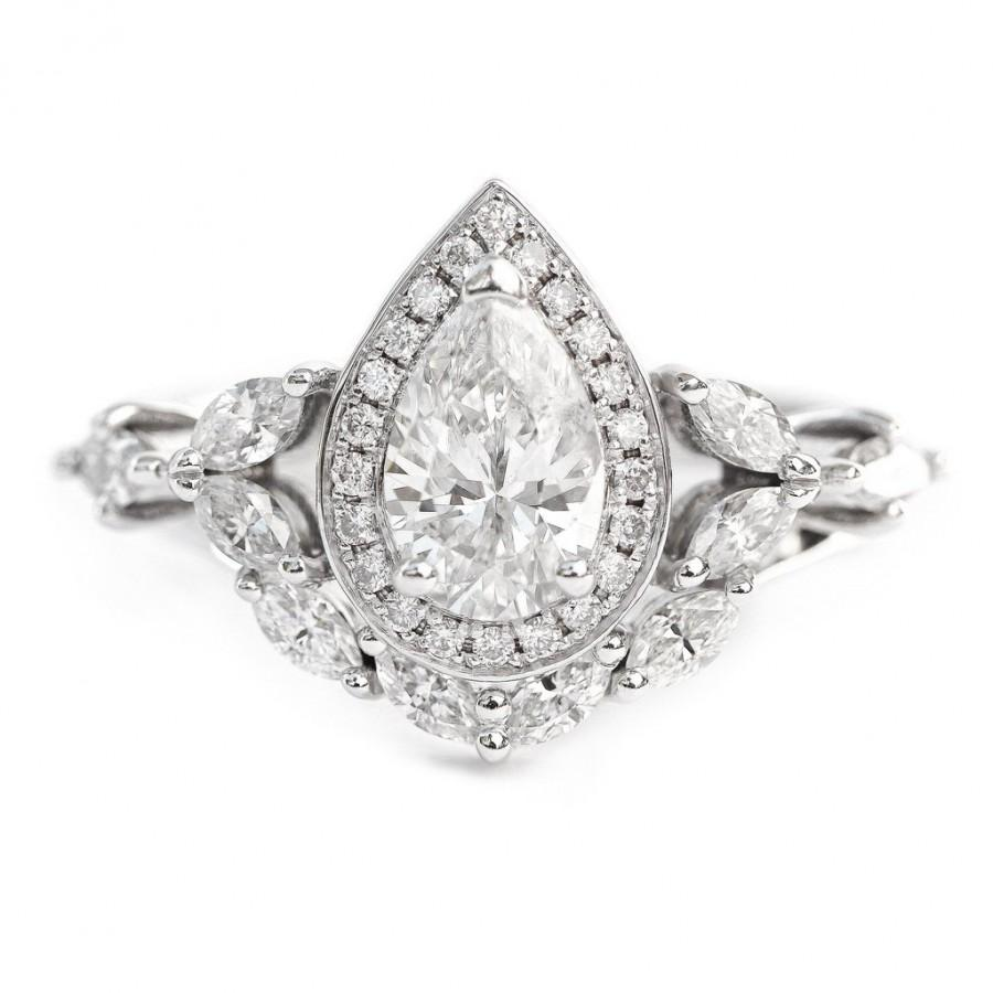 Wedding - Muse Unique Pear Diamond Engagement Rings Set - 1.68 Carat