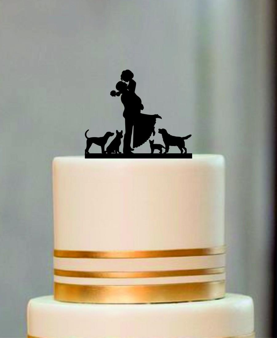 Hochzeit - Silhouette Wedding Cake Topper, Bride and Groom Cake topper with a dog or cat, Rustic Wedding Silhouette With a dog or cat, Custom Topper