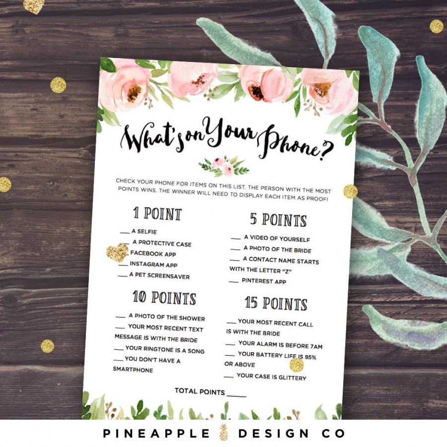 Hochzeit - What's on your Phone Game Bridal Shower Game, Printable Bridal Shower Games, Floral, Pink Peonies Instant Download