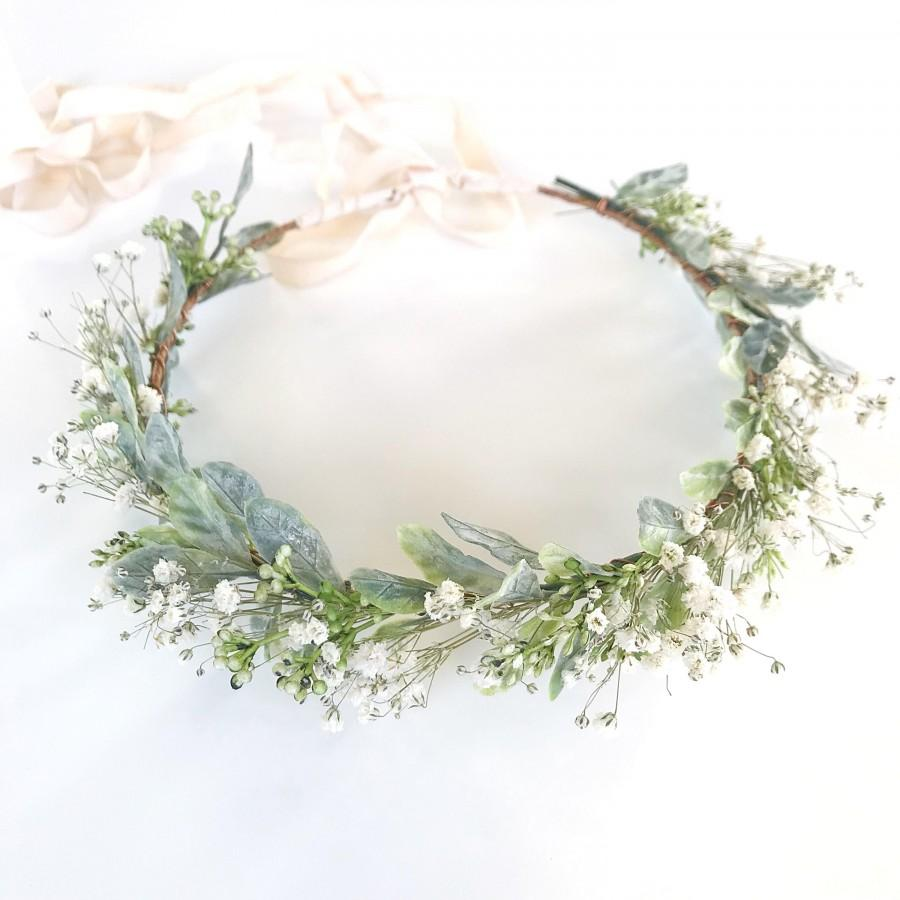 Mariage - Baby's Breath Crown- Greenery Crown- Dried Flower Crown- Hair Vine- Sage Headband- Bridal Crown- Organic Wedding Headpiece- Green Halo