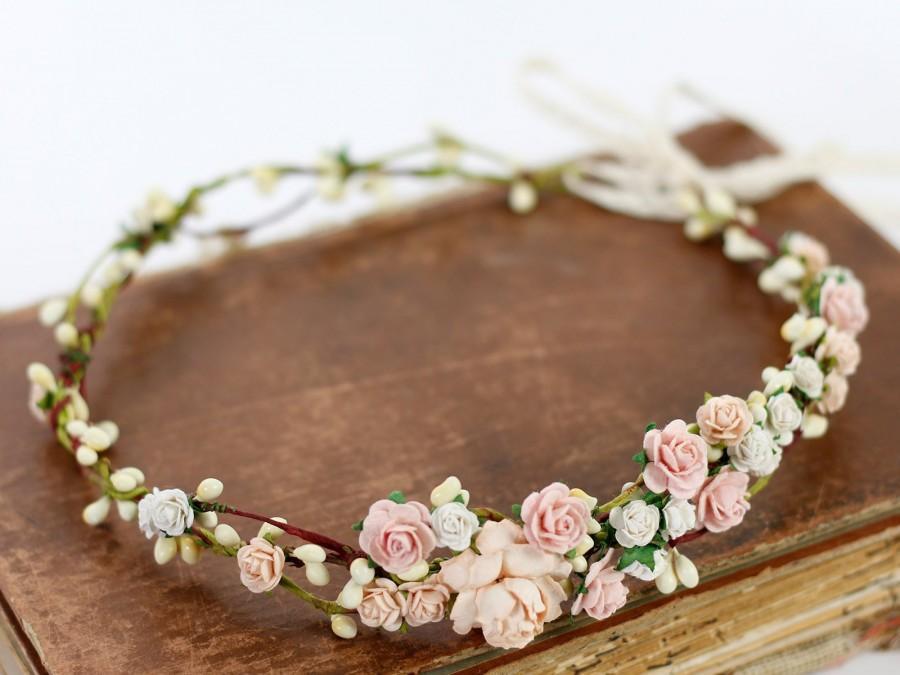Mariage - Blush Flower Crown Wedding Salmon Floral Crown Floral Headband Bridal Crown Crown Apricot Headpiece Coral Pink Flower Girl Halo Peach Bloom