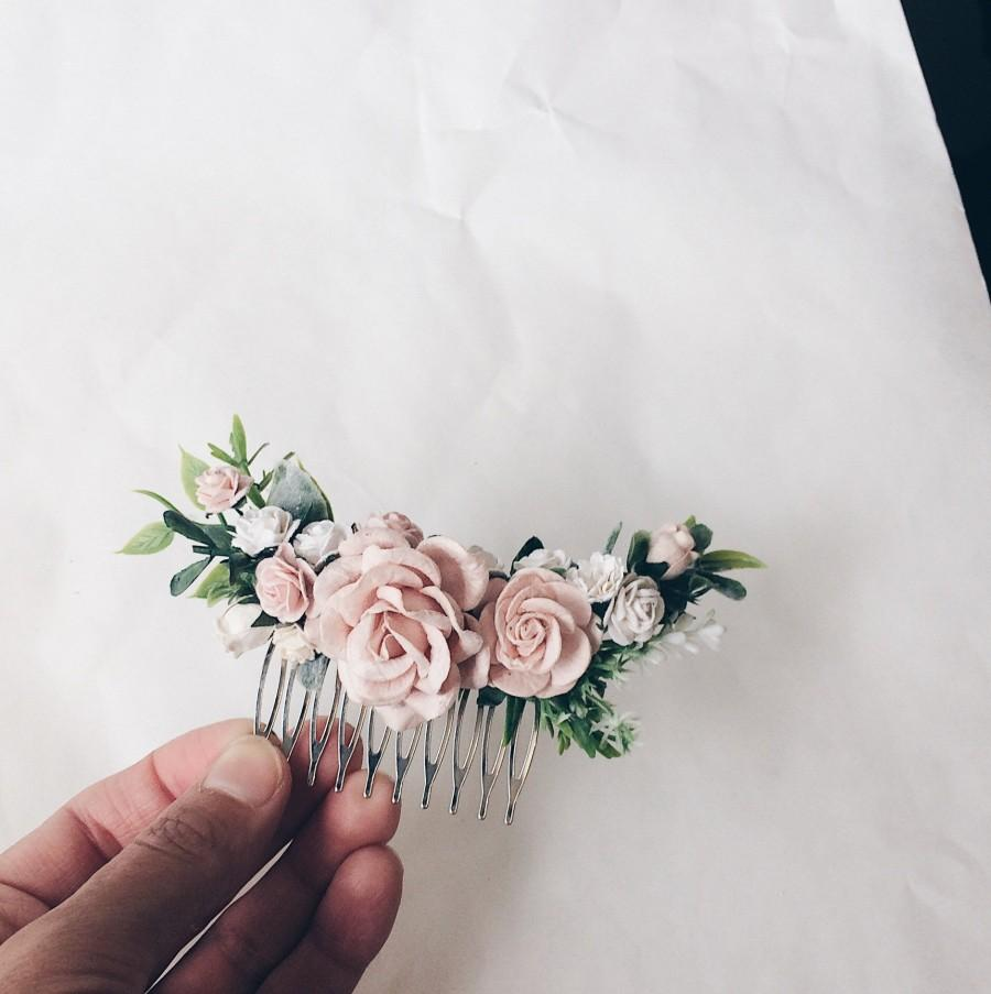 Mariage - Hair comb Pale pink and white and dusty rose and grenery headpiece, floral hair piece, pale pink hair clip, bridal hair piece, blush pink co