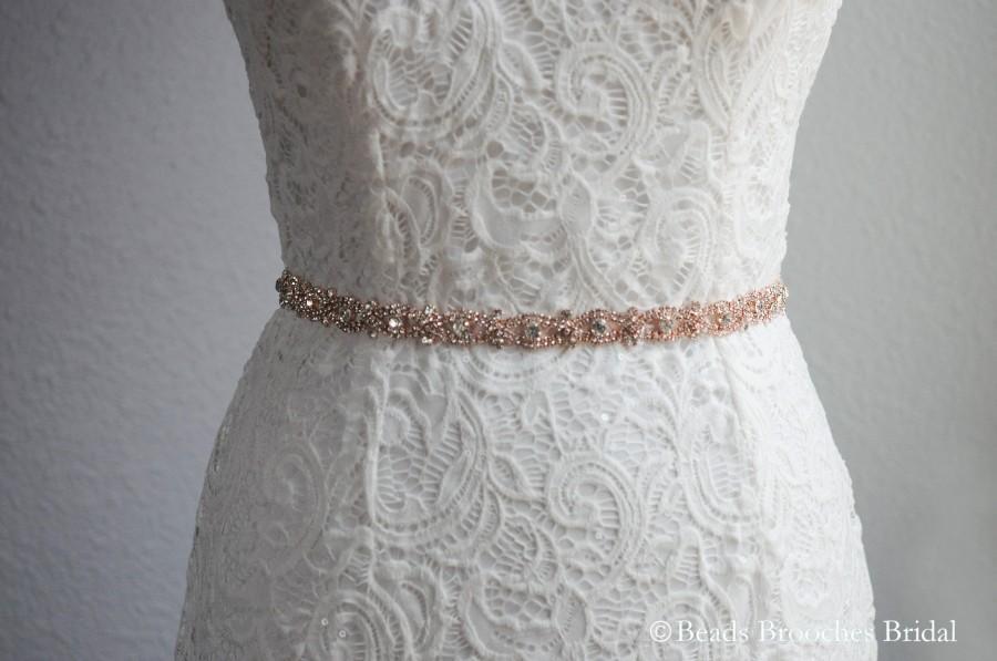 زفاف - Rope Shaped Rose Gold Belt, Wedding Belt Rhinestone, Rhinestone Belt, Bridal Rhinestone belt, Rose Gold Crystal Rhinestone Belt,Wedding Sash