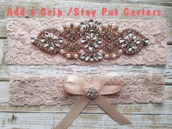 Свадьба - Sale -Wedding Garter and Toss Garter-Crystal Rhinestone with Rose Gold Details - BLUSH Garter Set - Style G3091RG