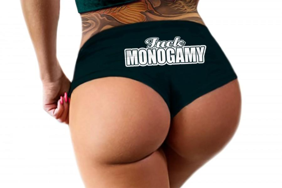 Wedding - Fuck Monogamy Panties Sexy Funny Slutty Polyamory Swinger Open Relationship Poly Booty Panty Bachelorette Party Gift Womens Underwear