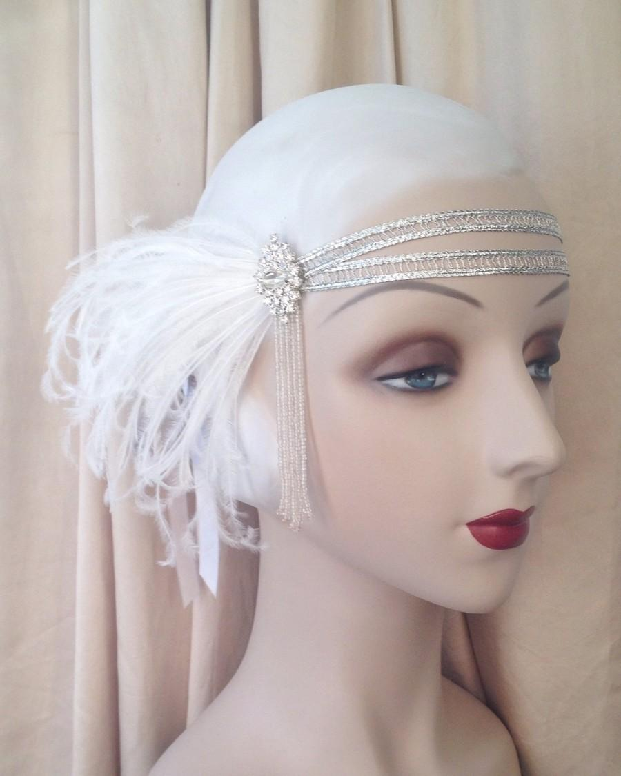 Свадьба - flapper headband with 20's beading, rhinestones and white feathers gatsby double headband 1920's headband silver headpiece- andromeda