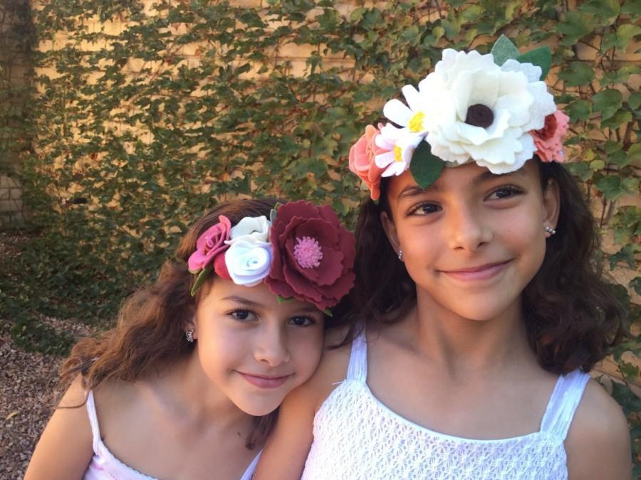 Свадьба - Crown Headband, Flower Girls Headband, country wedding, rustic