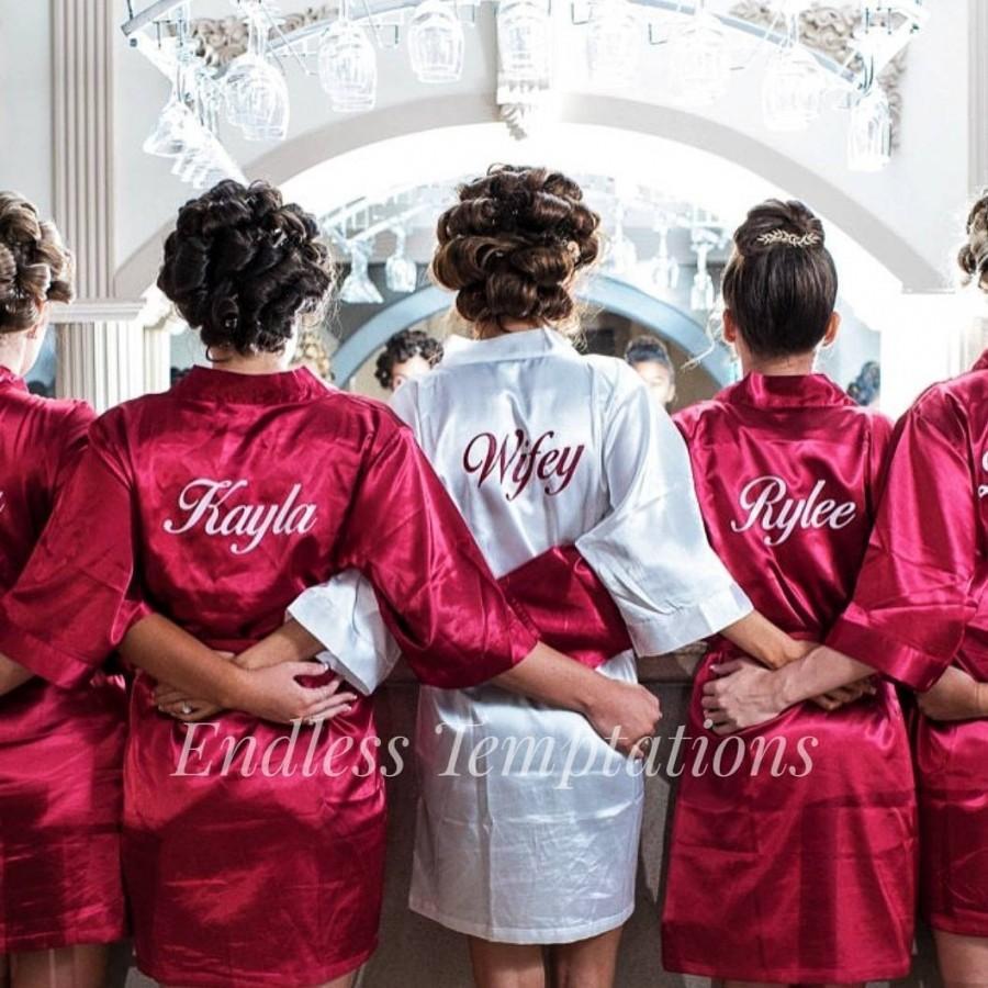 Mariage - Satin Robes; Bride; Bridesmaids