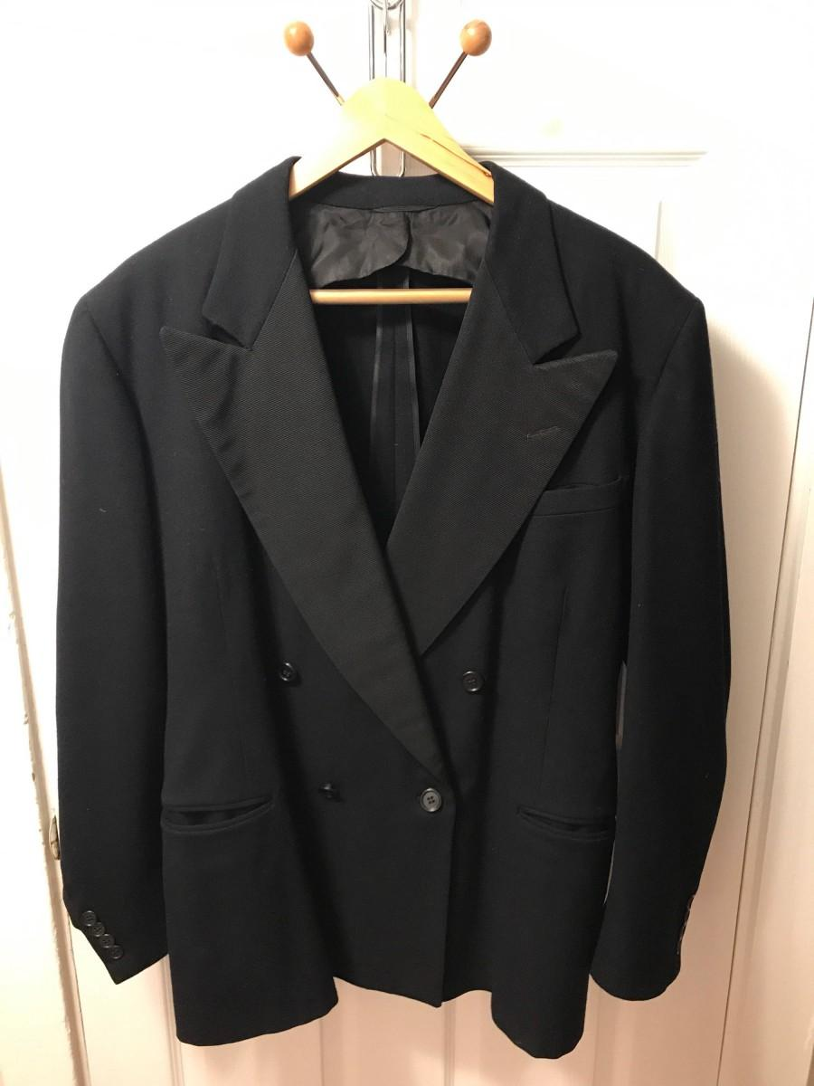 Hochzeit - Vintage Saks Fifth Avenue double breasted broad lapel dark navy blue tux-style wool sport coat