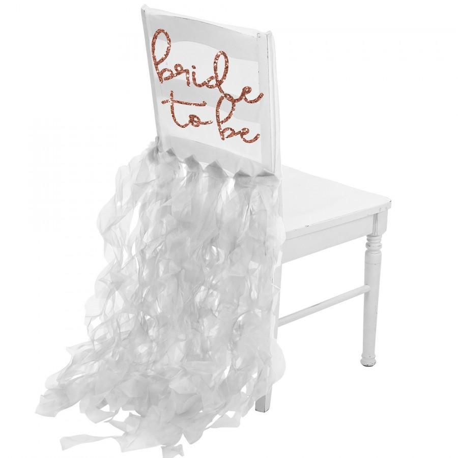 زفاف - Rose Gold Glitter Bride To Be Icon White Organza Chair Cover - Bridal Shower Decoration, Bachelorette Party Decorations, Wedding Decoration