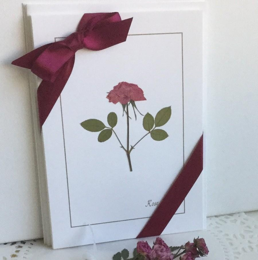 Mariage - Pressed Flower - Rose Card Set Handcrafted Gift of 3 Unique Cards Beautiful Real Bright Pink Roses For Her To Frame or Use As Greeting Cards