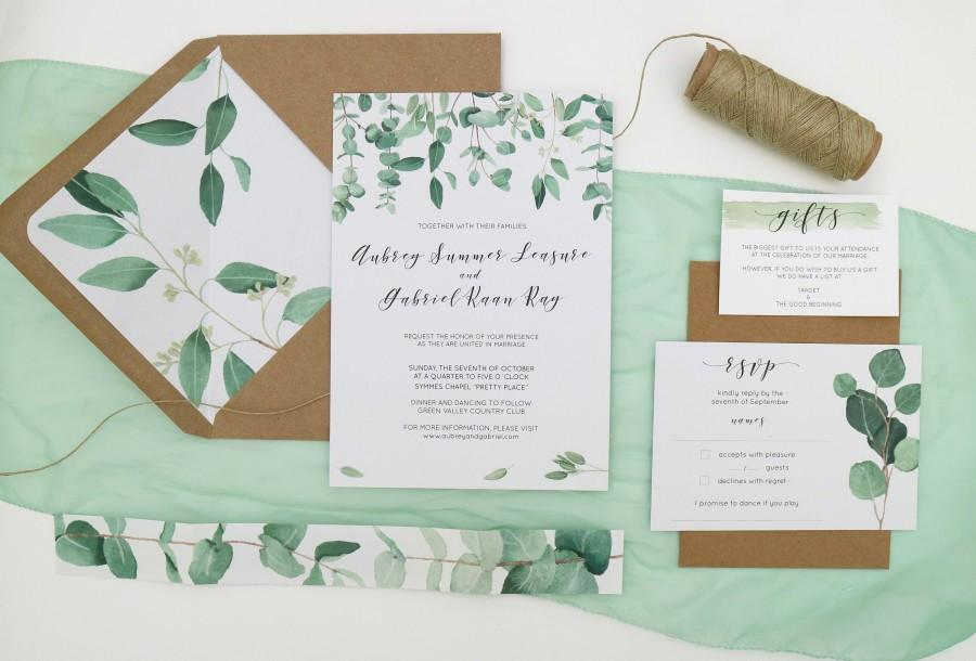 Mariage - Green Leaf Wedding Invitation Set // Printed Wedding Invitations with Liner // Eucalyptus // Watercolour Leaves // 100% Recycled Invites