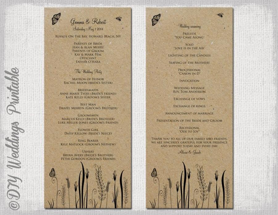 "Hochzeit - Rustic Wedding program template ""Butterfly Meadow"" Country wedding program any color -DIY wedding program printable -Editable download"