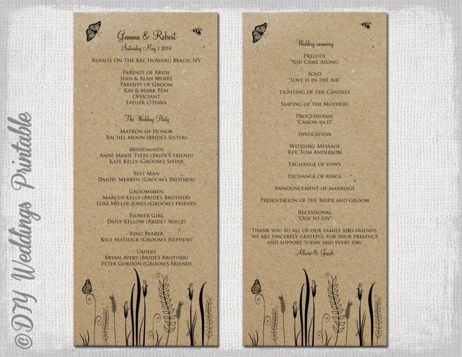"Wedding - Rustic Wedding program template ""Butterfly Meadow"" Country wedding program any color -DIY wedding program printable -Editable download"