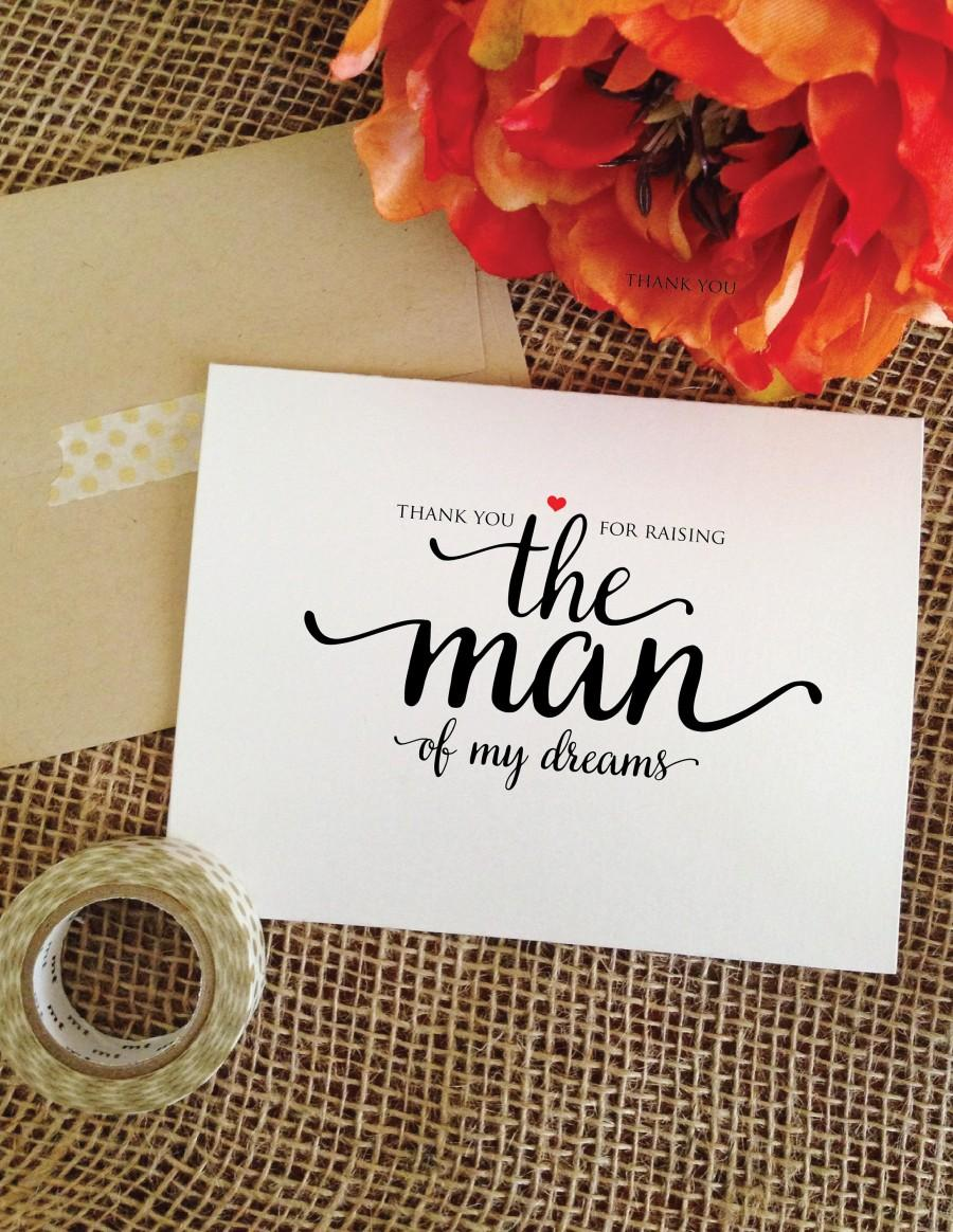 Hochzeit - Mother of the groom gift from bride thank you for raising THE MAN of my dreams mother in law card wedding gift mother of the groom Card wa8m