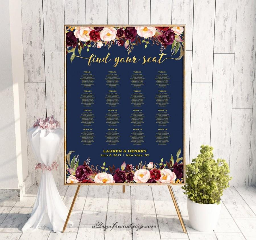 زفاف - Navy Gold Wedding Seating Chart Template, Printable Burgundy Floral Seating Plan Poster,  Large Poster 30 Table, Instant Download #109