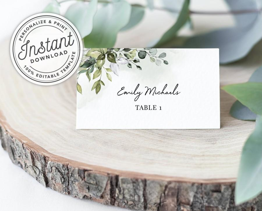 Hochzeit - Watercolor Greenery Printable Wedding Place Cards w/ Eucalyptus Leaves (Flat and Tent Folded) • INSTANT DOWNLOAD • Editable Template #027