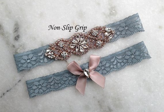 زفاف - Dusty Blue Wedding Garter Set, Rose Gold Stretch Lace Bridal Garter, Crystal Rhinestone Garters, Light Blue Garter, Something Blue non-slip