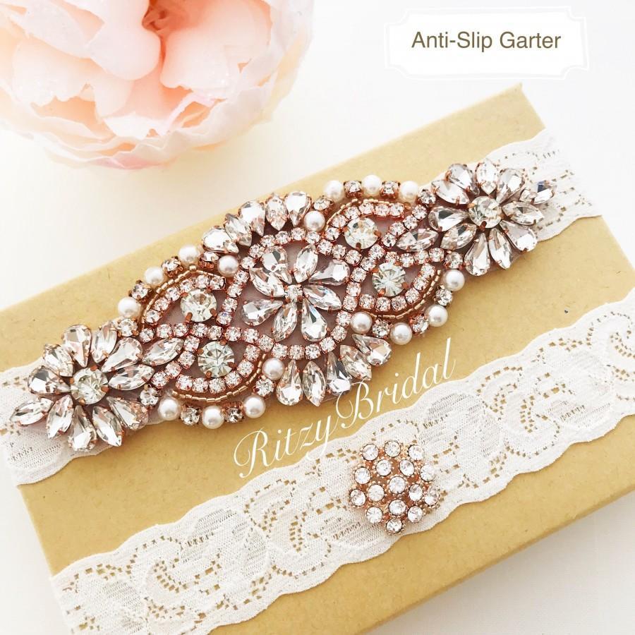 Свадьба - wedding garter rose gold, bridal garter rose gold, ivory rose gold garter, rose gold garters, garter belt rose gold, rhinestone garter