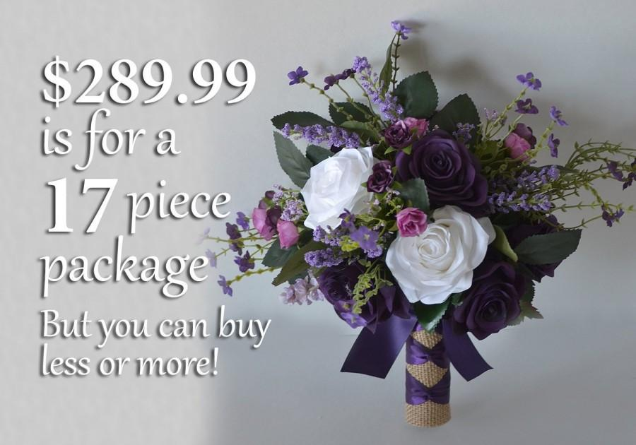 Свадьба - Wedding Bouquet, Bridal Bouquet, Bridesmaid Bouquet, Silk Flower Bouquet, Wedding Flower, purple, plum, lavender, fuchsia, Lily of Angeles