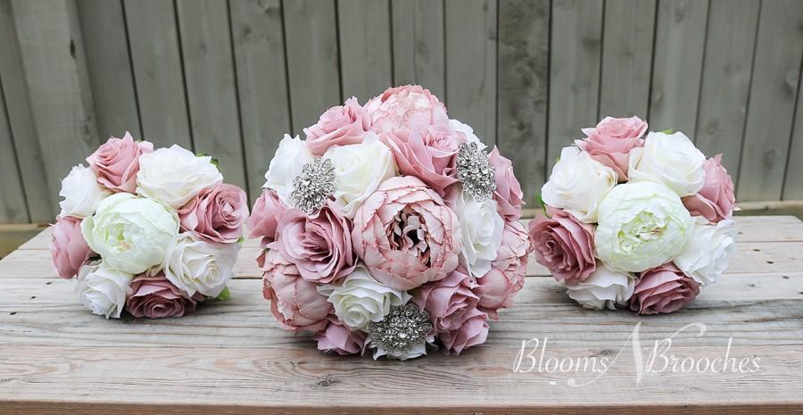 Свадьба - Dusty Rose and Ivory Wedding Bouquet, Wedding Flowers, Bridesmaid Bouquets, Corsage, bridal Flower Package