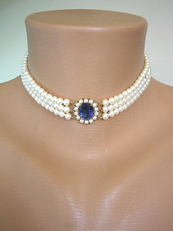 Hochzeit - LOTUS Royale Pearls, Pearl Choker, Sapphire Bridal Choker, Wedding Necklace, Pearl Necklace, Bridal Choker, Mother of the Bride